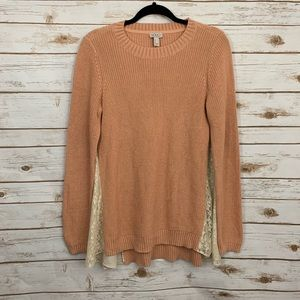 LOGO By Lori Goldstein Knit Sweater With Lace